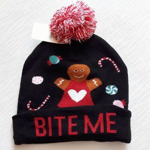 Gingerbread Man Toque Hat Pom Pom Beanie BITE ME